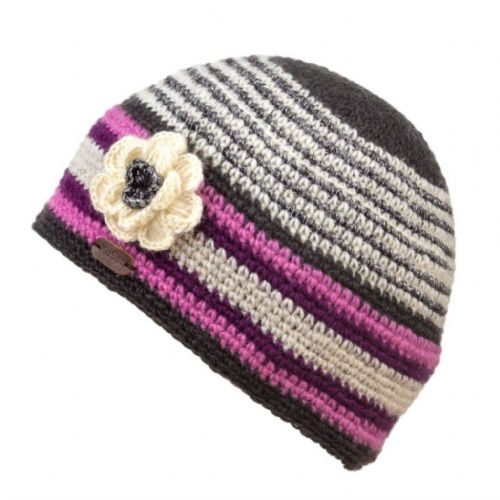 Crochet Beanie Hat - Kusan - Purple with Crochet Flower